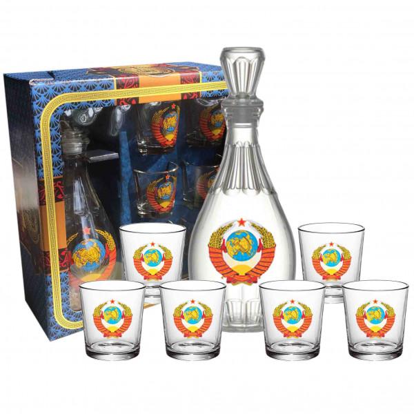 """Set Wodkagläser mit Karaffe Dionisos aus 6 St., 50 ml, """"Wappen von USSR"""""""