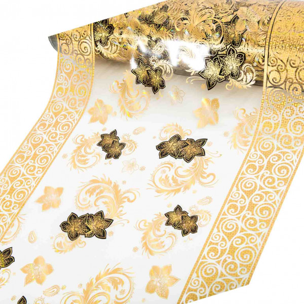 """Tischdecke PVC """"3D"""", Schwarze Blüten mit Gold, 80cm/15m"""