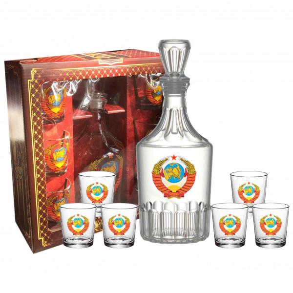 """Set Wodkagläser mit Karaffe Caesar aus 6 St., 50 ml, """"Wappen von USSR"""""""