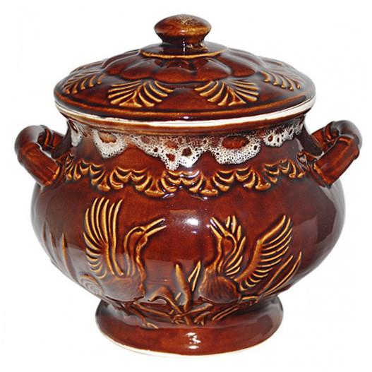 """Backtopf Keramik, """"mit Vögeln"""", 3 l"""