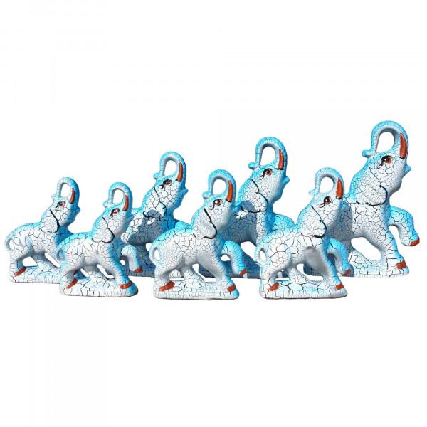 "Figurenset "" 7 Elefanten"", blau, 12-19 cm"