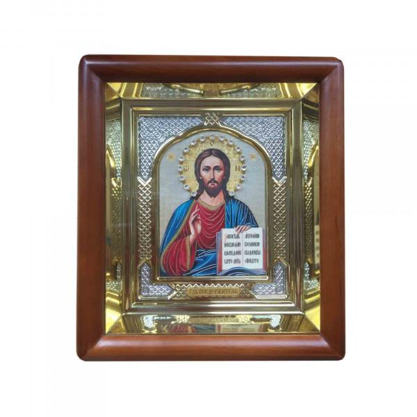 """Ikone mit Holzrahmen in Geschenkbox, """"Spasitel"""", 10x12 cm"""