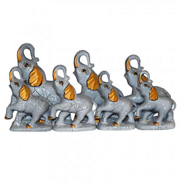 "Figurenset "" 7 Elefanten"", Grau, 12-19 cm"