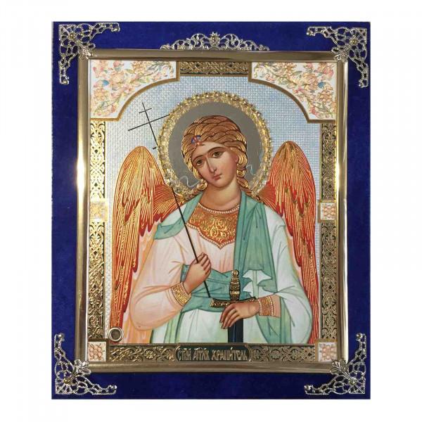 Ikone (Holz in Samt), Angel Chranitel, 15x18 cm