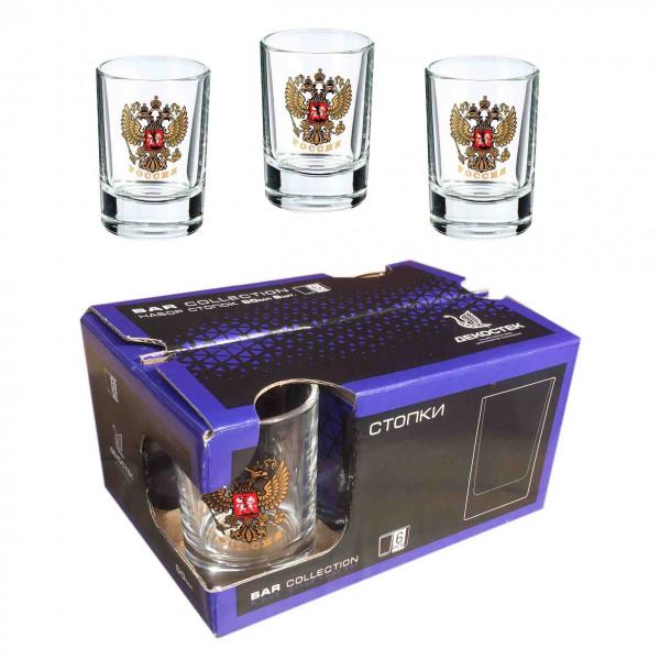 """Wodkagläser set """"Bar Collection"""" aus 6 St., 50 ml, """"Wappen von Russland"""""""