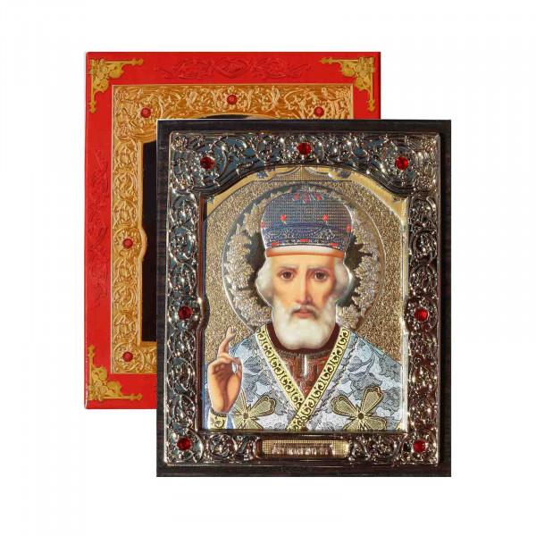 """Ikone (Holz) mit Prägung, in Geschenkbox, """"Nikolaj"""", 10x12 cm"""