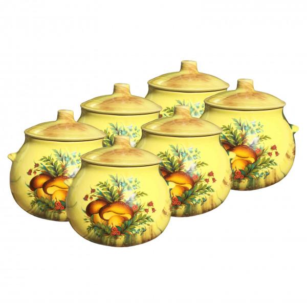 """Keramiktopf """"Dekor"""", """"Gelb mit Pilzen Steinpilz"""" 650 ml, Set aus 6 St."""