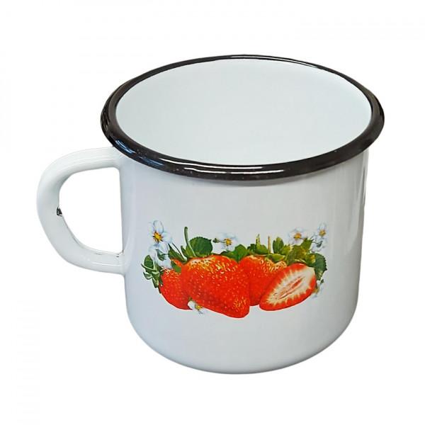 "Tasse emailliert ""Erdbeere"", 0,4 L"