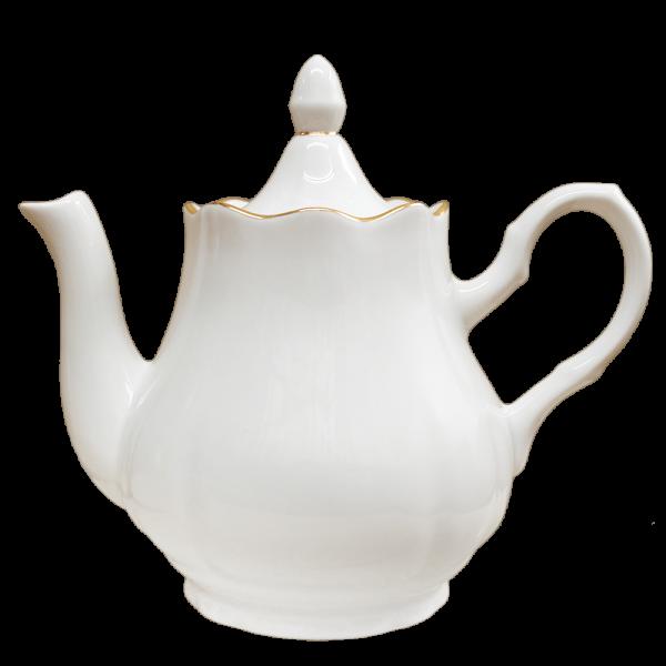 """Teekanne aus Porzellan 1750 ml """"Nostalgie"""" - """"Weiß mit Gold"""""""
