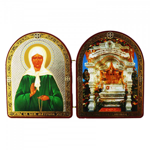 "Ikone 2-fach (Holz), ""Matrona i Moschi"", 10x12 cm"