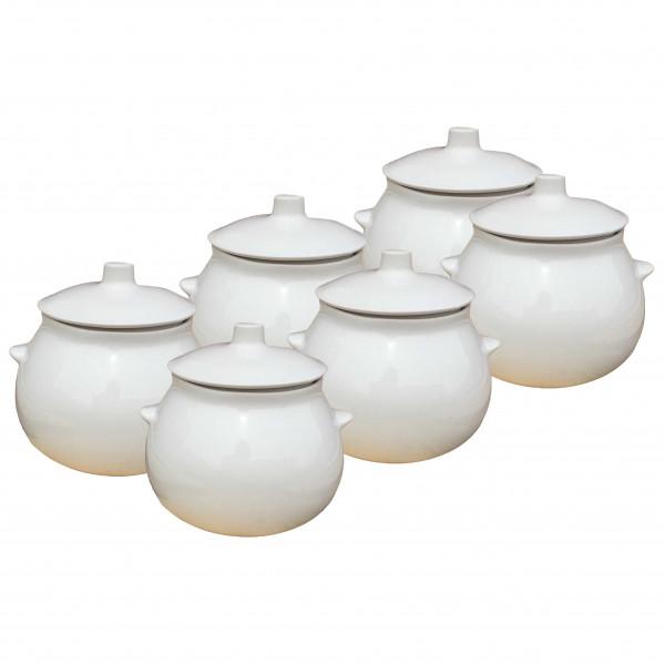 "Keramiktopf ""Glanz"", ""Weiß"" 650 ml, Set aus 6 St."