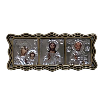 """Ikone 3-fach für Auto, gross, """"Silbern"""" mit figuren Ramen, 11,5x5 cm"""