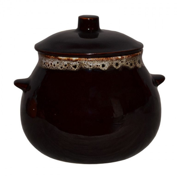 "Keramiktopf ""Dekor"", ""Braun mit Schaum"" 650 ml, Set aus 6 St."