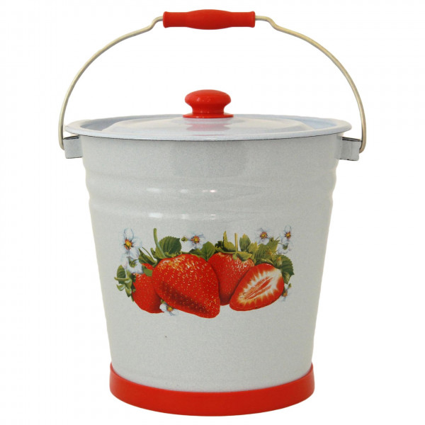 """Eimer mit Deckel und Stand, 12,0 L, """"Erdbeere"""", emailliert, (Blau)"""