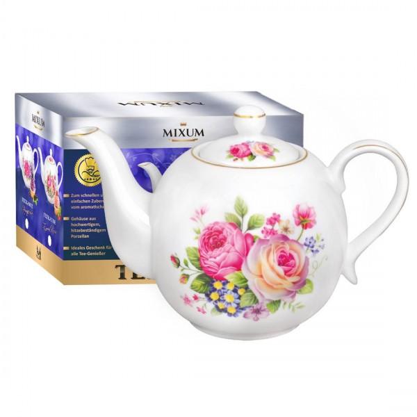 """Teekanne aus Porzellan 1100 ml """"Zarte Rosen"""" mit goldenen Kanten"""