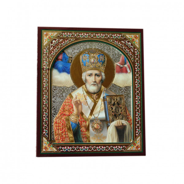 """Ikone (Holz), in Kartonbox, """"S. Nikolaj"""", 10x12 cm"""