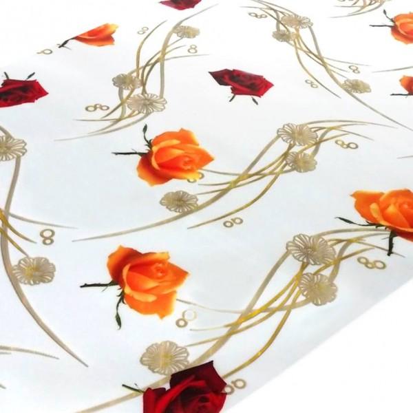 """Tischdecke PVC """"3D"""", rote und gelbe Rosen, 80cm/15m"""