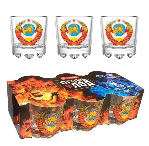 """Wodkagläser set """"Feuer und Eis"""" aus 6 St., 50 ml, """"Wappen von USSR"""""""