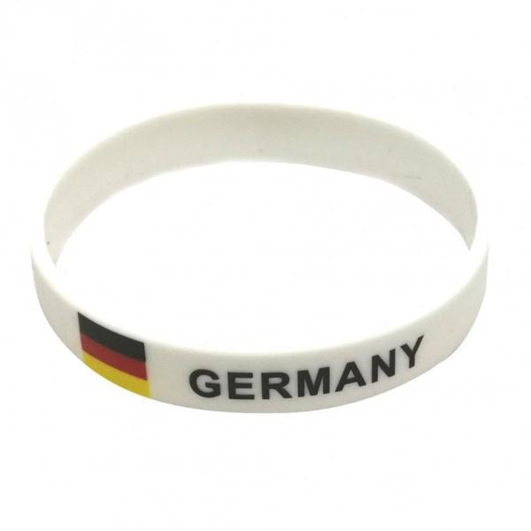 "Armband ""Fussball"", Silikon ""Germany"", Weiß"