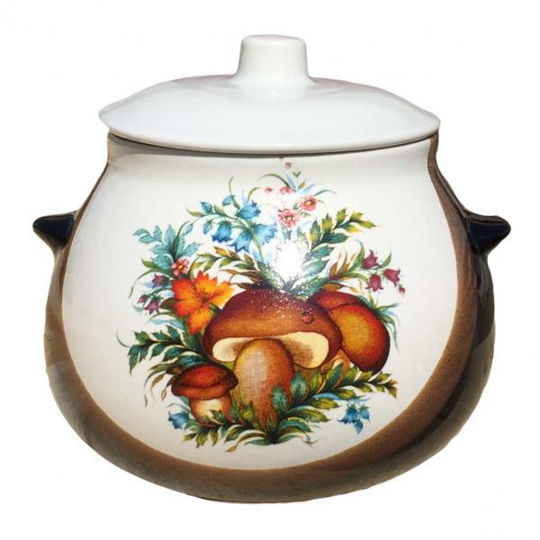 """Keramiktopf """"Dekor"""", """"Weiß-Braun mit Steinpilze"""" 650 ml, Set aus 6 St."""