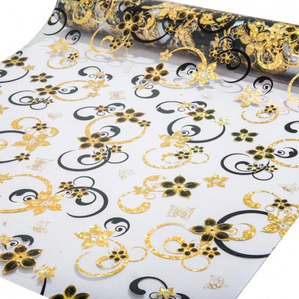 """Tischdecke PVC """"3D"""", schwarz-gold, 80cm/15m"""