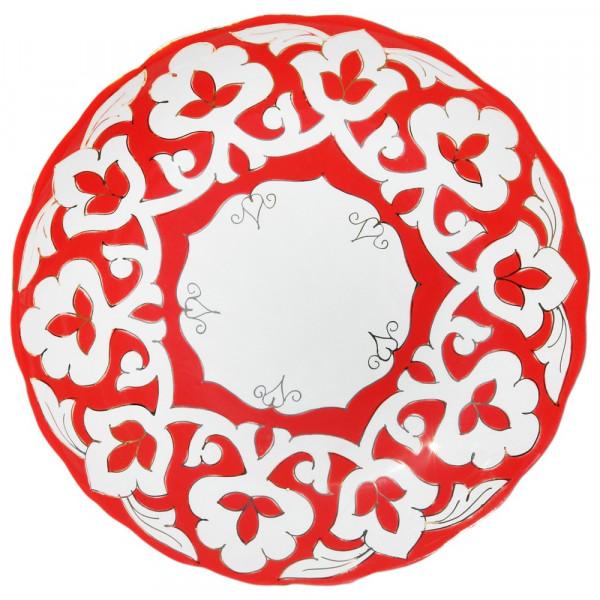 "Teller-Tablett 29 cm ""Rote Pachta Gold"" aus Porzellan"
