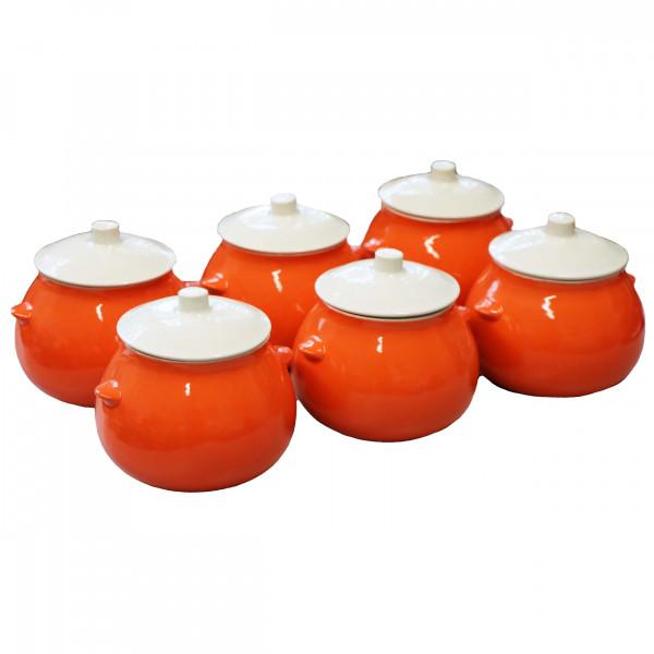 """Keramiktopf """"Dekor"""", """"Orange"""", 650 ml, Set aus 6 St."""