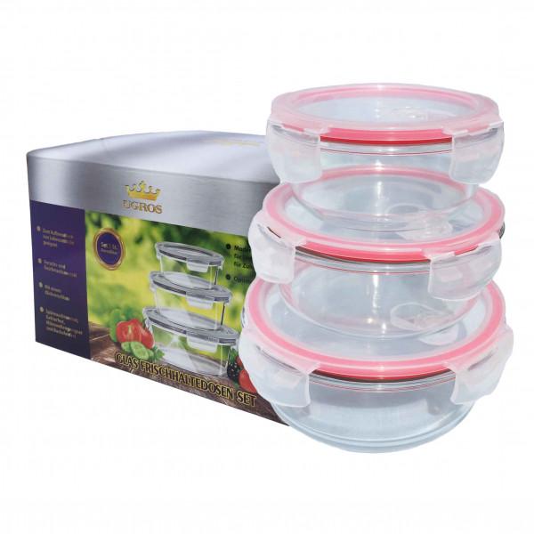Frischhaltedosen-Set, glas, rund