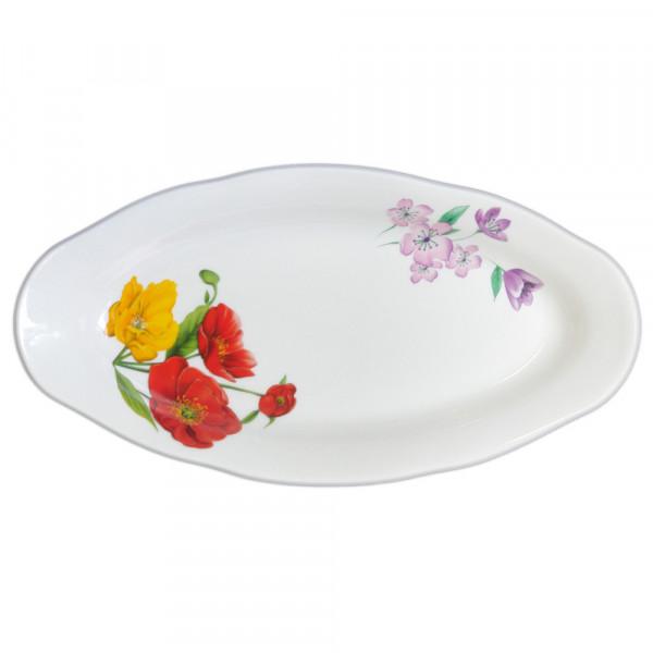 "Teller oval aus Porzellan 25 cm ""Nostalgie"" - ""Feldmohnblumen"""