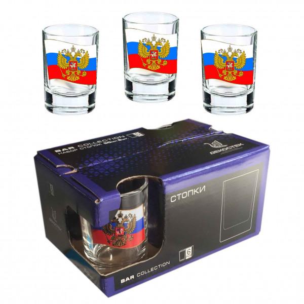"""Wodkagläser set """"Bar Collection"""" aus 6 St., 50 ml, """"Flagge von Russland"""""""