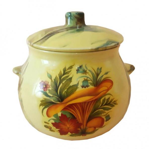 "Keramiktopf ""Dekor"", ""Gelb mit Pilzen Pfifferling"" 650 ml, Set aus 6 St."