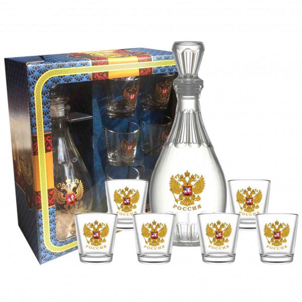 """Set Wodkagläser mit Karaffe Dionisos aus 6 St., 50 ml, """"Wappen von Russland"""""""