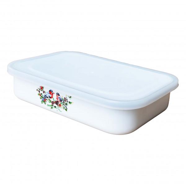 """Behälter emailliert """"Snegiri"""" (Weiß), 1,5 L, mit Plastikdeckel"""