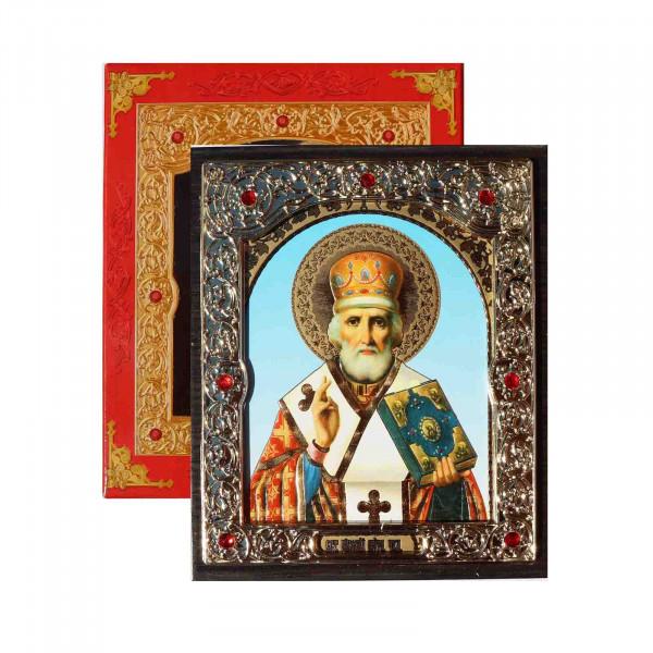 "Ikone (Holz) mit Prägung, in Geschenkbox, ""Nikolaj Chudotvorets"", 10x12 cm"