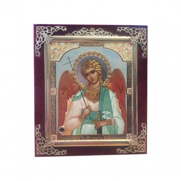Ikone (Holz in Samt), Angel Hranitel, 10x12 cm