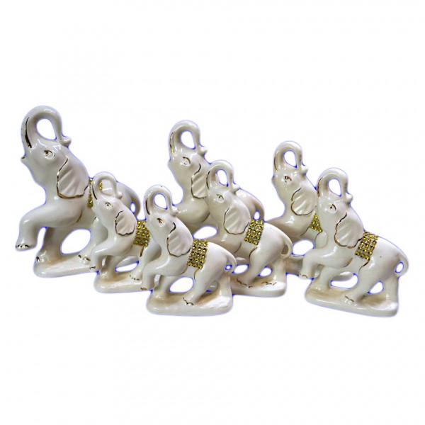 """Figurenset """" 7 Elefanten"""", Weiß mit Gold, 12-19 cm"""