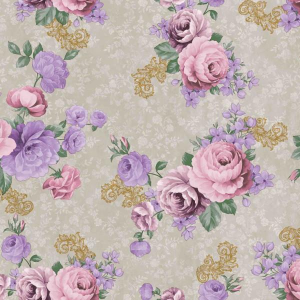 Tischdecke М, Rosen auf grau, 20x1,4 m