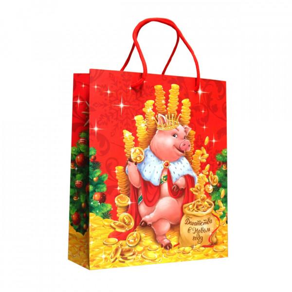"""Geschenktasche """"Schwein mit Münzen"""", S, 23x18 cm"""