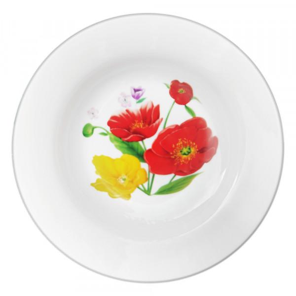 "Suppenteller aus Porzellan 20 cm ""Nostalgie"" - ""Feldmohnblumen"""