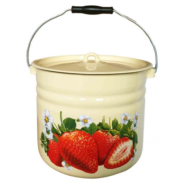 """Eimer mit Deckel (Zylinder), 12,0 L, """"Erdbeeren"""" emailliert, (Gelb)"""