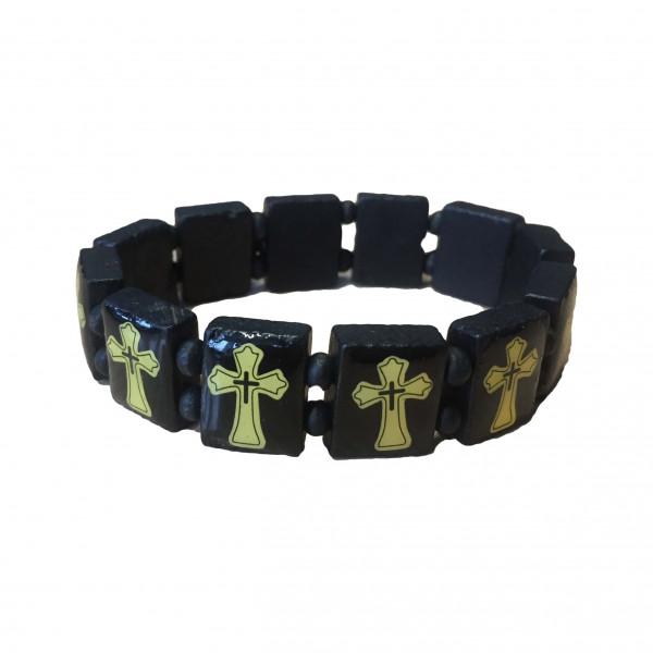 Armband aus Holz mit Kreuz, schwarz