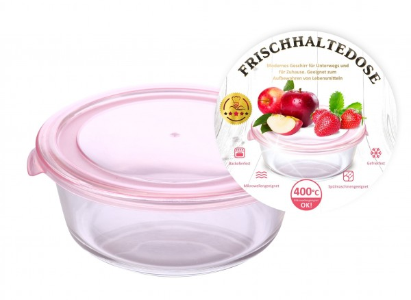 Frischhaltedose, glas, rund, 950 ml