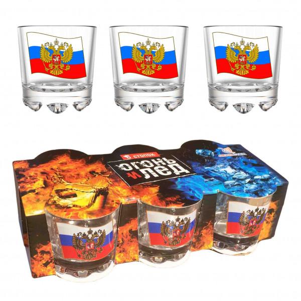 """Wodkagläser set """"Feuer und Eis"""" aus 6 St., 50 ml, """"Flagge von Russland"""""""