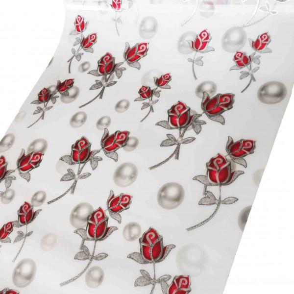 """Tischdecke PVC """"3D"""", Rote Rosen mit Silbern, 90cm/15m"""