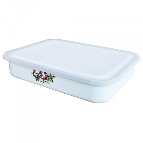 """Behälter emailliert """"Snegiri"""" (Weiß), 2,5 L, mit Plastikdeckel"""