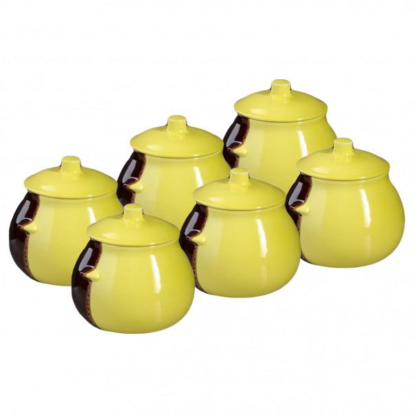 """Keramiktopf """"Glanz"""", """"Gelb und Braun"""" 650 ml, Set aus 6 St."""